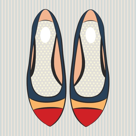 Vector fashion illustration cute womens flat shoes on gray striped background.