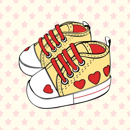 Vector children's sport shoes baby boy or baby girl Ilustrace