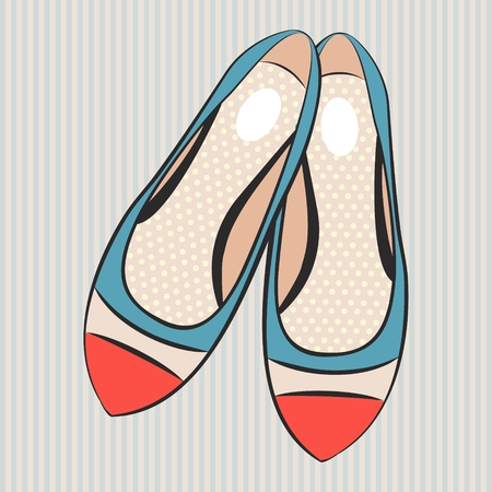 Vector fashion illustration cute women's flat shoes Vettoriali