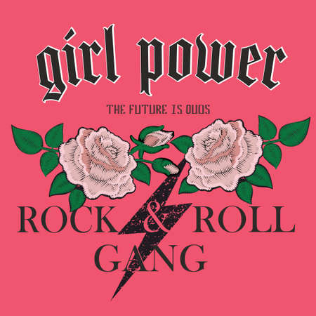 Vector fashion illustration of brutal lettering in grunge rock and roll retro style girl power. The future is ours with embroidery, badges, chevron roses, Gothic, heavy metal music.