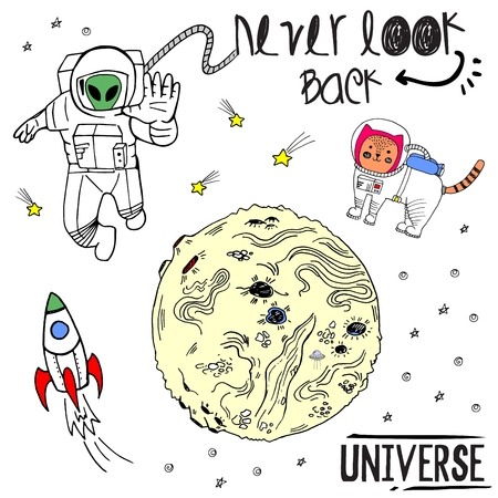 Vector sketch hand drawn colored illustration cosmos with cat, cosmonaut, planet, ufo, rocket, space patches and lettering never look back