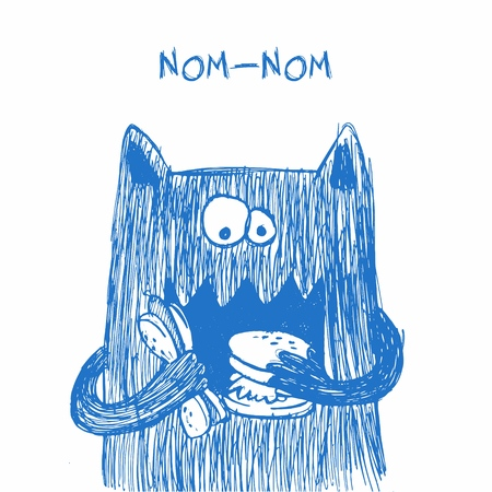 Doodle monster. Hand drawn sketch illustration. Funny character drawn with blue pen isolated on a white background. Heavy eater. Nom-nom