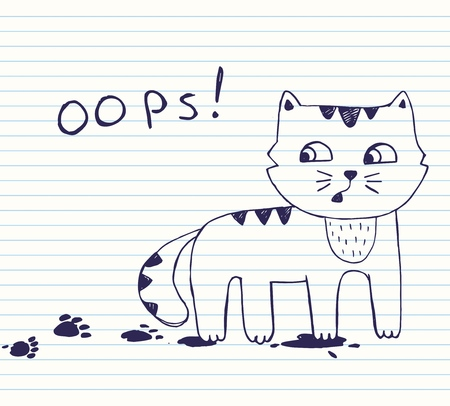 A Vector illustration of hand drawn little naughty cat with dirty footprints. Quick sketch with blue pen on the background of notebook sheet in line. poker face cat. oops! Vectores