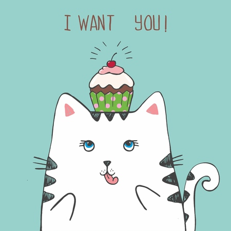 Cute vector hand drawn illustration with sketch cat with polka dot cake on his head. Blue background with scrapes. Picture drawn with  pen. I want you