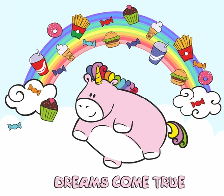 Pink fat unicorn flying in the sky with fast food. Dreams come true. Vector illustration. Fairy tale character on the background of the rainbow and clouds Imagens - 101999912
