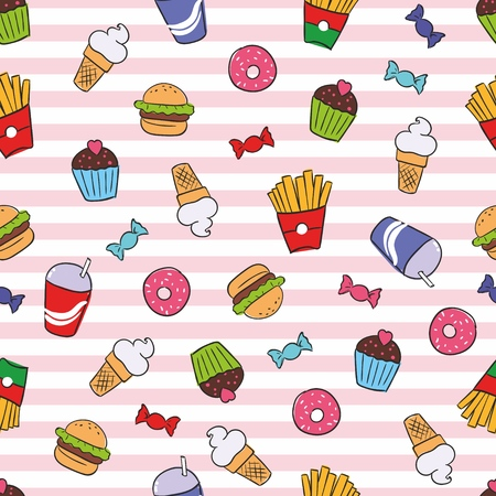 A Seamless texture with fast food on striped background. Handdrawn sketch colored french fries.