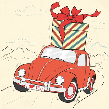 Cute retro card with lovely red vintage car with a gift on the roof and big bow. A car riding along a mountain road. Picturesque landscape. Little lady auto with the inscription I love you
