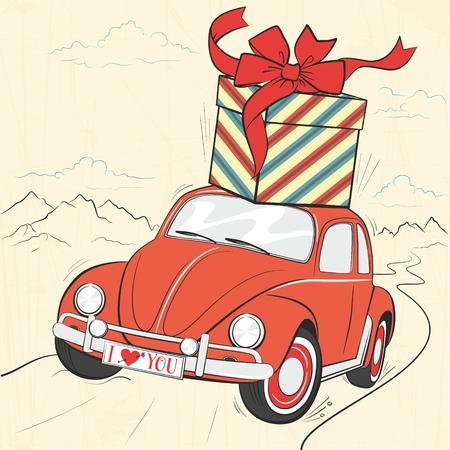 Linda tarjeta retro con precioso coche vintage rojo con un regalo en el techo y gran lazo. Un automóvil que viajaba por una carretera de montaña. Paisaje pintoresco Pequeña dama auto con la inscripción te amo
