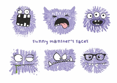 Set of six vector funny crazy monsters heads with different emotions on their faces. Sketch illustration drawn with colored crayons Illustration