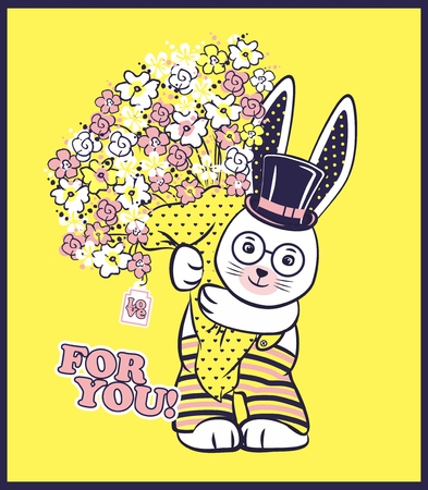 Vector illustration of cute rabbit with cylinder hat, big bouquet of spring flowers and lettering - for you. Illustration