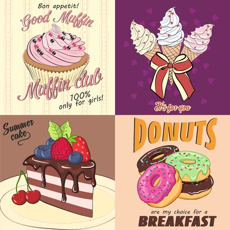 Vector cards with sweets. Card with pink fruit muffin- Card with ice cream and bow- Card with piece of chocolate cake with berries- Card with motley donuts