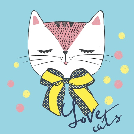 Vector illustration of handdrawn sketch white cat with polka dot bow and lettering - Love cats. Cats head with closed eyes and colored snowballs for your design isolated on a blue background