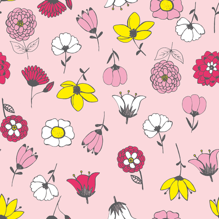 vector hand drawn. Seamless pattern with chaotically arranged flowers (upside down and vertical). Undirected texture. Floral background for scrapbooking, fashion, fabric, paper, cards, web design Illustration