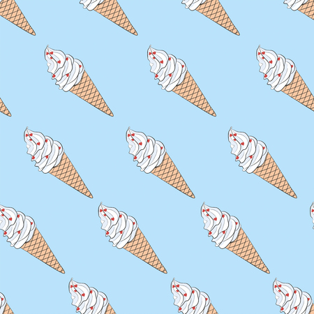 Vector seamless endless texture with hand drawn sketch ice cream. Diagonal direction. Cute pattern for scrapbooking, cards, wallpaper, typography, fashion, paper, textile, web design, clothes