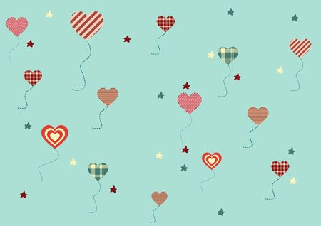 Green background with multi-colored flying hearts and stars Illustration