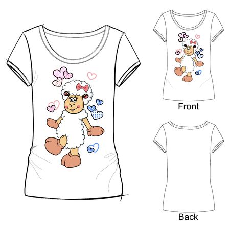 White T-shirt with a flying lamb among the hearts.  イラスト・ベクター素材