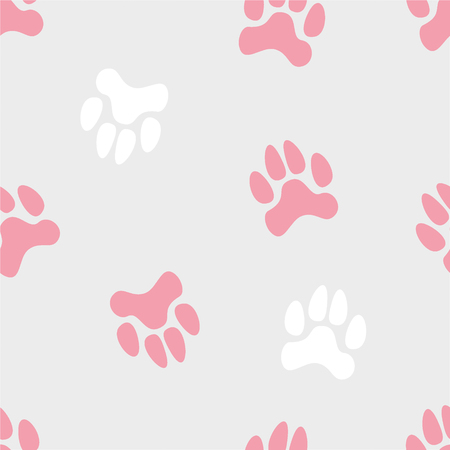 Vector seamless cute pattern with colored turned traces of animals on a grey monochrome background.  Can be used for wallpapers, paper, typography, clothes, fabric, web design. For girls