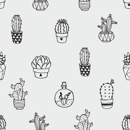 Seamless vector pattern with cactus isolated on an gray background. Can be used for paper, fabric, fashion, clothes, T-shirt, curtains, kitchen towel design
