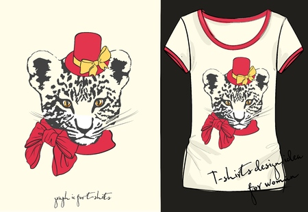 Womens shirt with stylish print and inscription little fashion tiger Illustration