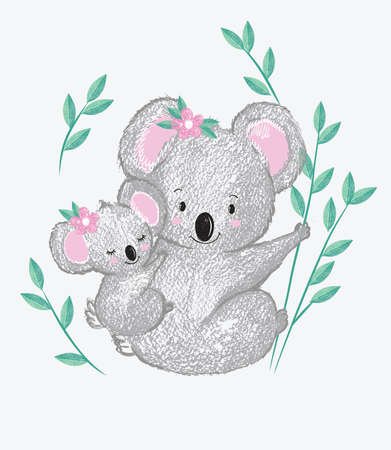 Vector Illustration of two kawaii cute koals in anime style sitting on a bamboo branch. Hand drawn picture, drawn with crayons, mother and daughter. Can be used as print for t shirt, baby shower Illustration