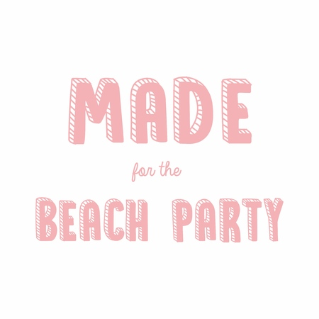 Vector illustration of cute pink cartoon lettering made for the beach party drawn with a tablet, hand drawn imitation, 3D effect, fashion print for t shirt or pajamas for girl and woman