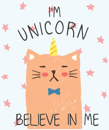 Vector illustration of scratched grunge kitten, hand drawn wax crayons imitation, impudent cat with horn and lettering I am unicorn believe in me, fairy tale character, good night, kawaii anime style