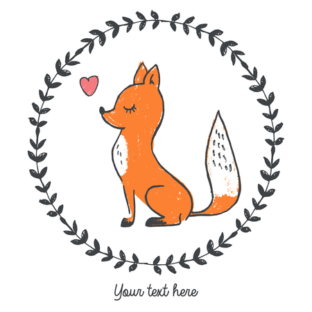 Vector illustration of hand drawn fox inside round floral frame with heart, place for slogan, lettering your text here, cartoon character can be used as fashion print for t shirt drawn with crayons