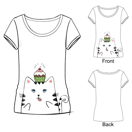 Cute t-shirt with cat Ilustrace