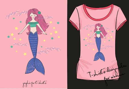 Vector illustration of lovely mermaid t-shirt Stock Illustratie