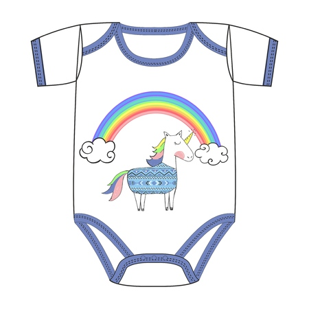 Vector clothes for newborn of sweet cute unicorn with ethnic pattern, with rainbow. Fairy tale character with colored hairstyle, closed eyes