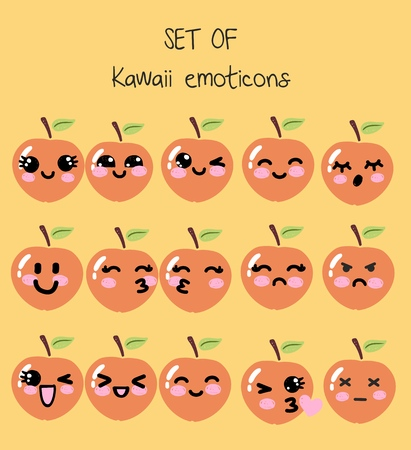 Ensemble de vecteur d'émoticônes kawaii, pêche mignonne avec des visages avec différentes émotions, smiley, dessiné dans un style anime manga enfantin, collection d'émoticônes simples emoji