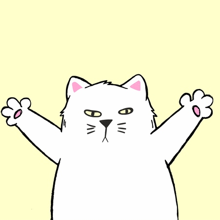Vector illustration of cute cartoon hand drawn white cat with open arms, sketch color drawing, can be used as fashion print for t shirt or pajamas, card, poster Imagens - 127144680