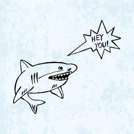vector shark isolated on blue background. Imagens - 127144684
