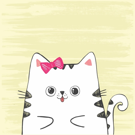 Cute vector hand drawn illustration with sketch cat. White kitten isolated on a yellow background. Imagens - 127144685