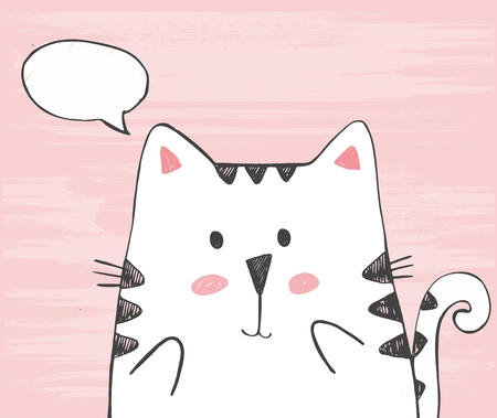 Cute vector hand drawn illustration with sketch cat with ... in a cloud. Freehand drawing. Handdrawn white kitten isolated on a pink background. Ilustracja