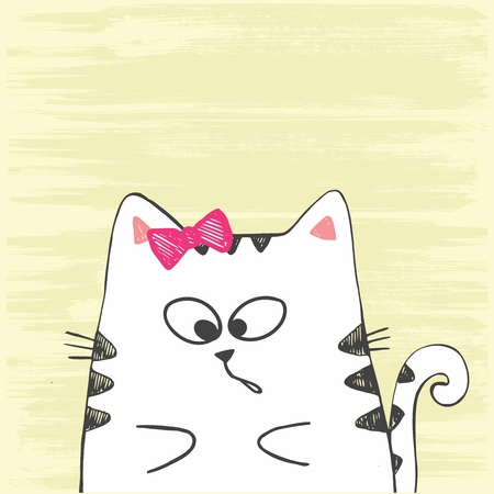 Cute vector hand drawn illustration with sketch cat. White kitten isolated on a yellow background. Imagens - 127144688