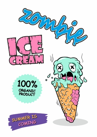 Vector cute zombie ice cream. Original detailed vector illustration with simple gradient. Can be used for T shirt design or for Halloween. Summer is coming