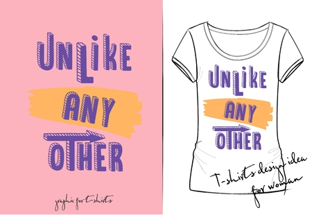 Vector illustration of cute purple cartoon lettering - unlike any other, drawn with a tablet, hand drawn imitation, 3D effect, fashion print for t shirt or pajamas for girl and woman