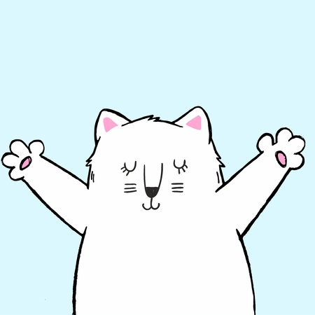 Vector illustration of cute cartoon hand drawn white cat with open arms, sketch color drawing, can be used as fashion print for t shirt or pajamas, card, poster Ilustração