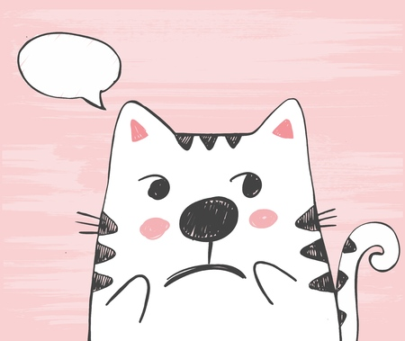 Cute vector hand drawn illustration with sketch cat with ... in a cloud. Freehand drawing. Handdrawn white kitten isolated on a pink background. Ilustração