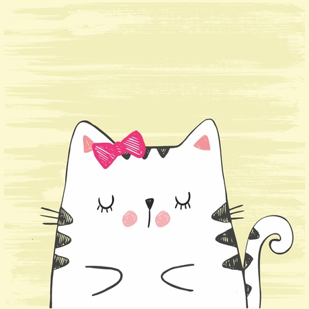 Cute vector hand drawn illustration with sketch cat. White kitten isolated on a yellow background.