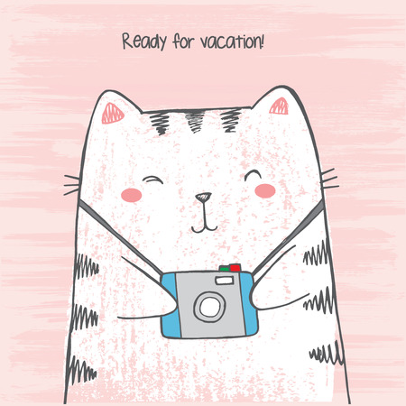 Vector illustration of hand drawn sketch crtoon white cat hugs his photo camera on scratched grunge pink background peeking out from image corner with lettering Ready for vacation Imagens - 126675741