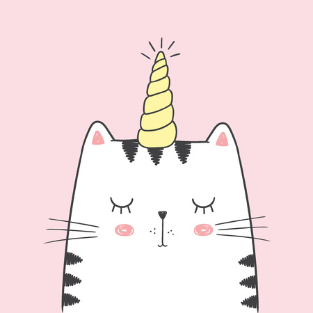 Cute vector illustration with white cat with unicorn horn drawn with a tablet. Lovely sleeping kitten with closed eyes isolated on a empty pink background, fairy tale character in kawaii anime style Ilustração