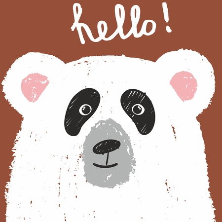 Cute card with lovely white bear drawn with colored crayons isolated on brown background. Hello! Vector hand drawn illustration