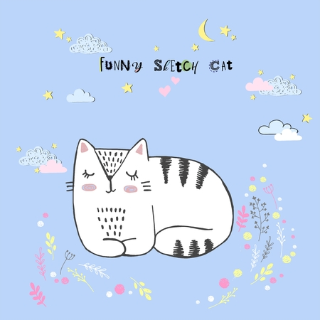Cute vector cartoon kawaii cat with clouds, stars, heart, hand drawn imitation, drawn with a tablet, fairytale, isolated Imagens - 126090286