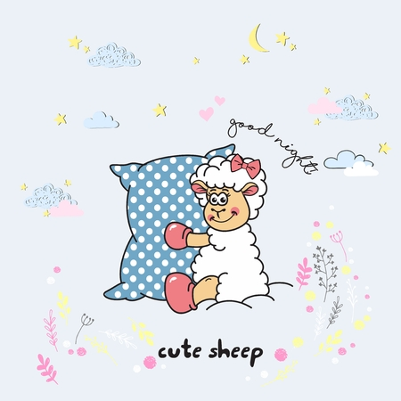Vector cute cartoon walking sleeping sheep with clouds,stars, heart, hand drawn imitation, drawn with a tablet, fairytale, isolated Ilustração