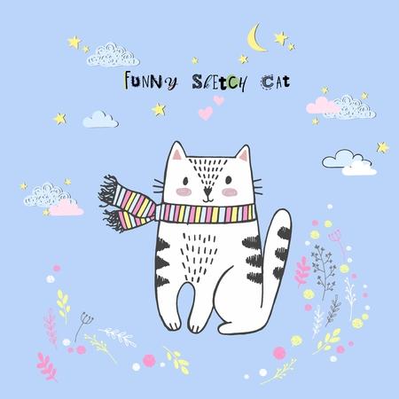 Cute vector cartoon kawaii cat with clouds, stars, heart, hand drawn imitation, drawn with a tablet, fairytale, isolated