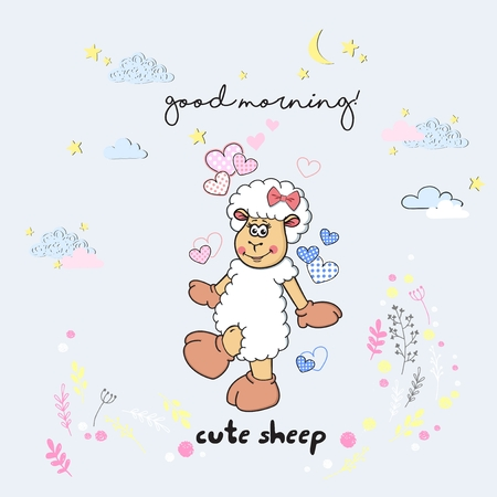 Vector cute cartoon walking sleeping sheep with clouds,stars, heart, hand drawn imitation, drawn with a tablet, fairytale, isolated Imagens - 126090289