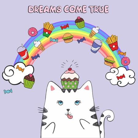 White fat cat in the sky with fast food. Dreams come true. Vector illustration. Fairy tale character on the background of the rainbow and clouds Ilustração