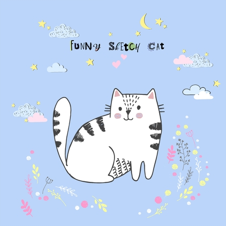 Cute vector cartoon kawaii cat with clouds, stars, heart, hand drawn imitation, drawn with a tablet, fairytale, isolated Imagens - 126090290
